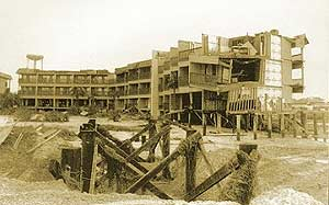 Isle of Palms. Sepia tone photo of devastation after hurricane Hugo
