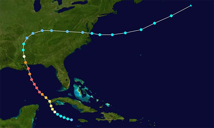 Hurricane Camille's storm track in 1969