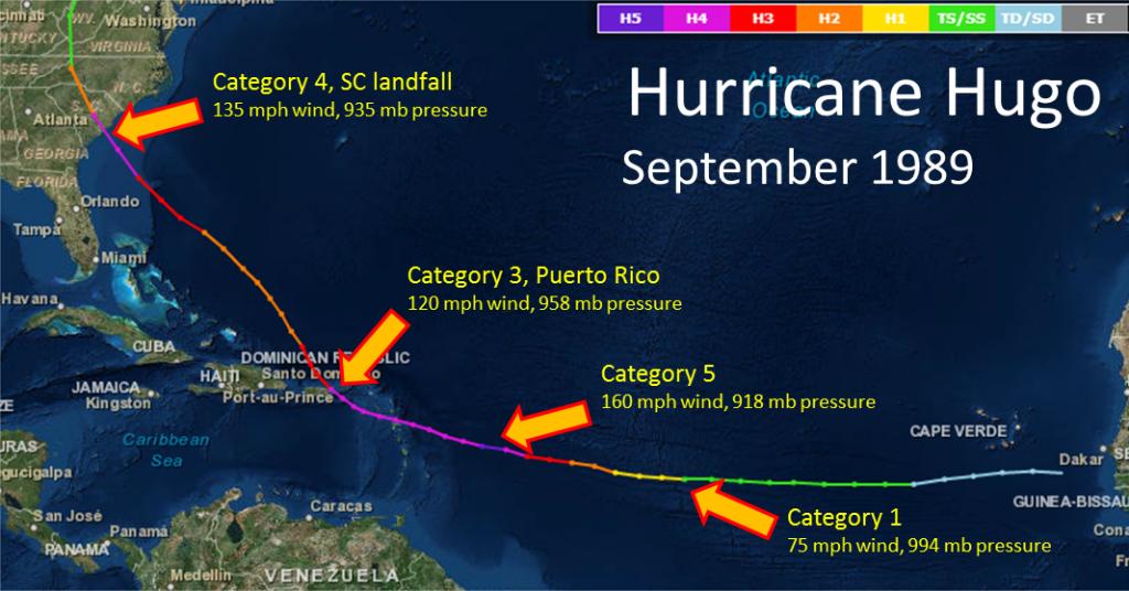 Hurricane Hugo''s Track in 1989 from Weather.gov
