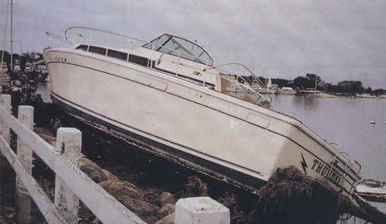 Hurricane Bob, 1991: Boat in Green Pond, Falmouth, MA