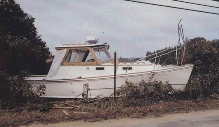 Hurricane Bob 1991: Boat in W. Falmouth, MA