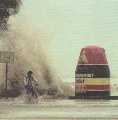 The Southernmost Point Buoy in Key Wrest, FL during Hurricane Georges, near Duval Street